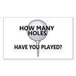 How Many Holes Played? Rectangle Sticker 50 pk)