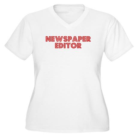 Retro Newspaper E.. (Red) Women's Plus Size V-Neck