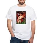 Seated Angel /Italian Spinone White T-Shirt