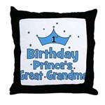 1st Birthday Prince's Great G Throw Pillow
