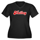 Retro Hailey (Red) Women's Plus Size V-Neck Dark T