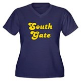 Retro South Gate (Gold) Women's Plus Size V-Neck D