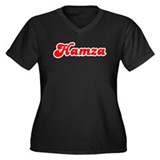 Retro Hamza (Red) Women's Plus Size V-Neck Dark T-