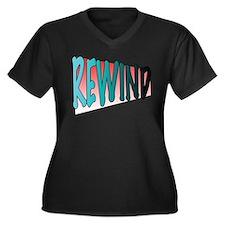 Rewind Women's Plus Size V-Neck Dark T-Shirt