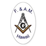 Hawaii Square and Compass Oval Decal