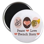 Peace Love French Horn Magnet
