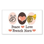 Peace Love French Horn Rectangle Sticker