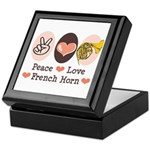 Peace Love French Horn Keepsake Box