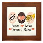 Peace Love French Horn Framed Tile