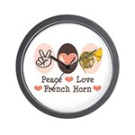 Peace Love French Horn Wall Clock