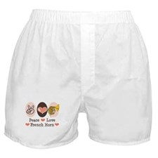 Peace Love French Horn Boxer Shorts