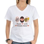 Peace Love French Horn Women's V-Neck T-Shirt
