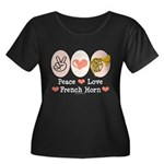 Peace Love French Horn Hornist Plus Size T shirt