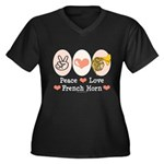 Peace Love French Horn Plus Size V Tee Shirt