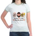 Peace Love French Horn Jr. Ringer T-Shirt