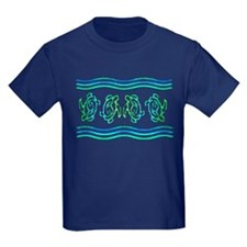 Turtles in Waves Kids Dark T-Shirt