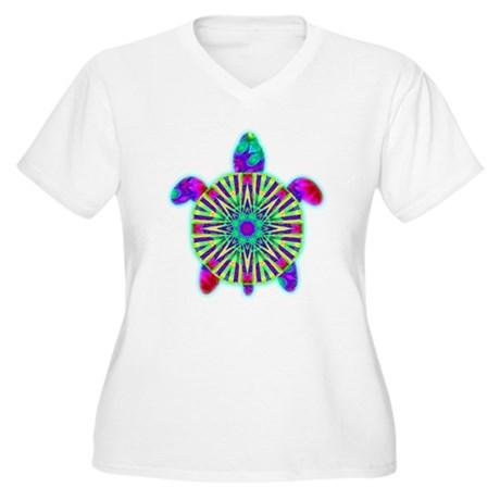 Colorful Sea Turtle Women's Plus Size V-Neck T-Shi