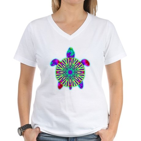 Colorful Sea Turtle Women's V-Neck T-Shirt