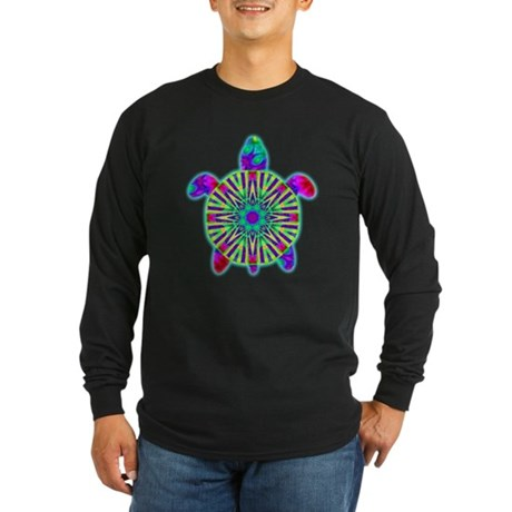 Colorful Sea Turtle Long Sleeve Dark T-Shirt