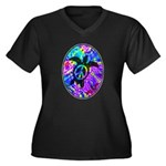 Peace Turtles Women's Plus Size V-Neck Dark T-Shir