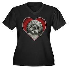 Shih Tzu Valentine Women's Plus Size V-Neck Dark T