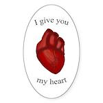 Human Heart Oval Sticker (10 pk)