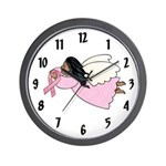 AA Pink Ribbon Angel Wall Clock
