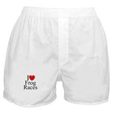 """I Love (Heart) Frog Races"" Boxer Shorts"