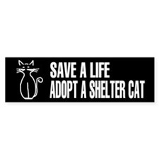 Adopt A Cat Black Bumper Bumper Sticker