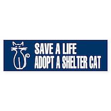 Adopt A Cat Blue Bumper Bumper Sticker
