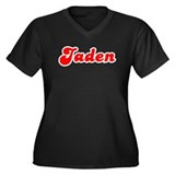 Retro Jaden (Red) Women's Plus Size V-Neck Dark T-
