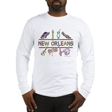 New Orleans Bead Design Long Sleeve T-Shirt