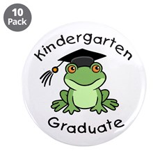 "Frog Kindergarten Graduate 3.5"" Button (10 pack)"