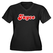 Retro Jayce (Red) Women's Plus Size V-Neck Dark T-