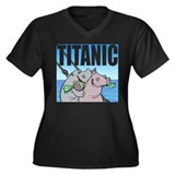 TITANIC Women's Plus Size V-Neck Dark T-Shirt