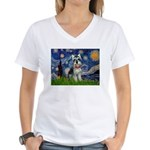 Starry Night /Schnauzer(#8) Women's V-Neck T-Shirt