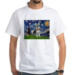 Starry Night /Schnauzer(#8) White T-Shirt