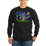 Starry Night /Schnauzer(#8) Long Sleeve Dark T-Shi