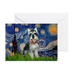 Starry Night /Schnauzer(#8) Greeting Cards (Pk of