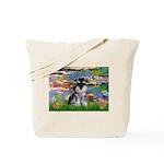 Lilies (#2)/Schnauzer Pup Tote Bag