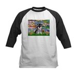 Lilies (#2)/Schnauzer Pup Kids Baseball Jersey