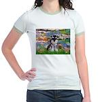 Lilies (#2)/Schnauzer Pup Jr. Ringer T-Shirt