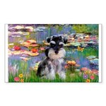 Lilies (#2)/Schnauzer Pup Sticker (Rectangle)