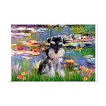Lilies (#2)/Schnauzer Pup Mini Poster Print