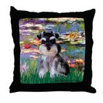 Lilies (#2)/Schnauzer Pup Throw Pillow