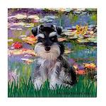 Lilies (#2)/Schnauzer Pup Tile Coaster