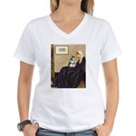 Whistler's Mother /Schnauzer Women's V-Neck T-Shir