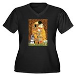 Kiss / Schnauzer (#7) Women's Plus Size V-Neck Dar