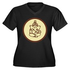 Ganesha Women's Plus Size V-Neck Dark T-Shirt