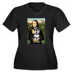 Mona Lisa's Schnauzer (#6) Women's Plus Size V-Nec